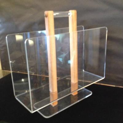 Grosfeld House Grosfeld House Lucite and Bleached Oak Magazine Stand