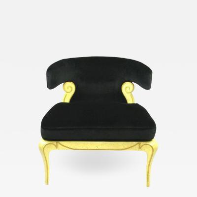 Grosfeld House Grosfeld House Sculptural Black Velvet Slipper Chair