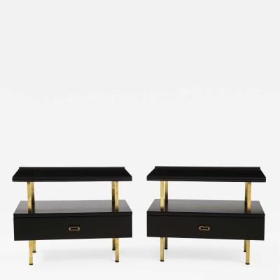 Grosfeld House Grosfeld House Two Tier Brass And Black Lacquer End Tables
