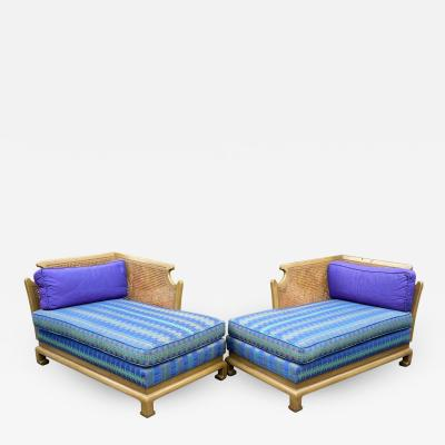 Grosfeld House Hollywood Regency Mid Century Modern Chinese Chippendale 2 Part Sofa