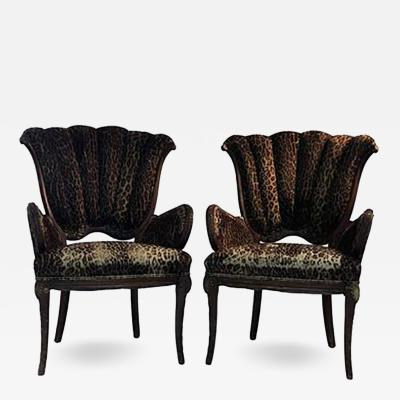 Grosfeld House Pair of 1940s Grosfeld House Leopard and Carved Wood Decorative Chairs