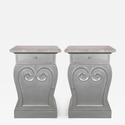 Grosfeld House Pair of Deco End Tables in Silverleaf with Carrara Marble Tops by Grosfeld House