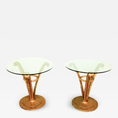 Grosfeld House Pair of Grosfeld House Hollywood Regency Side Tables
