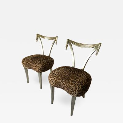 Grosfeld House Pair of Grosfeld House Silver Leaf Leopard Tassel Chairs
