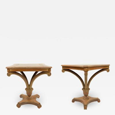 Grosfeld House Pair of Grosfeld Pedestal Base Square End Tables
