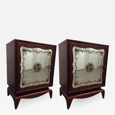 Grosfeld House Pair of Mahogany Grosfeld House Cabinets with Etched Mirrored Panels