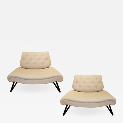 Grosfeld House Pair of Mid Century Grosfeld House Slipper Chairs Settees