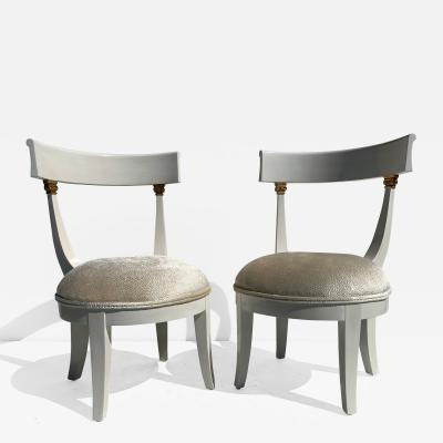 Grosfeld House Pair of Slipper Vanity Chairs