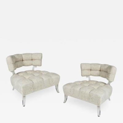 Grosfeld House Very Rare Pair of Biscuit Tufted Slipper Chairs by Grosfeld House