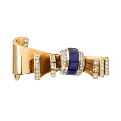 Gubelin 1940s G belin Gold Sapphire and Diamond Stylized Bow Brooch