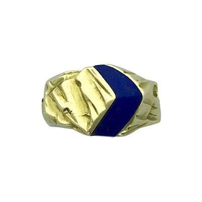 Gubelin 1970s Gubelin Lapis Lazuli Yellow Gold Ring