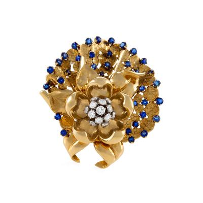 Gubelin G belin Swiss Mid 20th Century Diamond Sapphire and Gold Flower Brooch