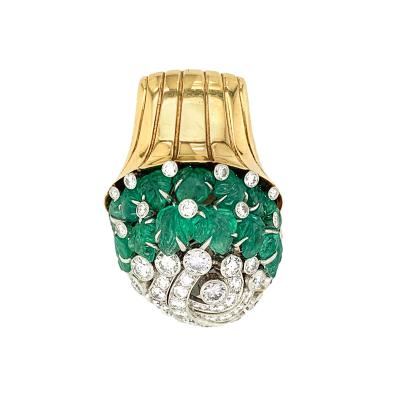 Gubelin Gubelin Carved Emerald and Diamond Floral Brooch