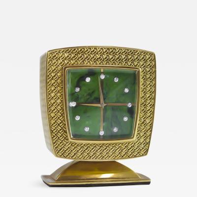 Gubelin Vintage Gubelin 18kt Yellow Gold Diamond Malachite Dial Square Clock