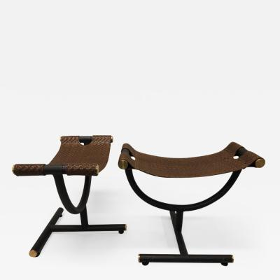 Gucci Custom Pair of Italian Iron Brass Braided Leather Stools Benches for Gucci