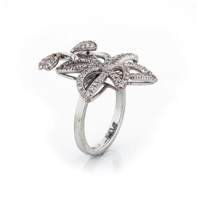 Gucci GUCCI 18K WHITE GOLD DIAMOND FLOWER AND DRAGONFLY RING