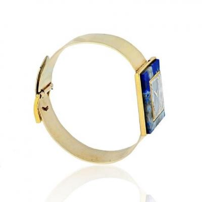 Gucci GUCCI 1970S 18K YELLOW GOLD BLUE LAPIS SQUARE DIAL VINTAGE WATCH