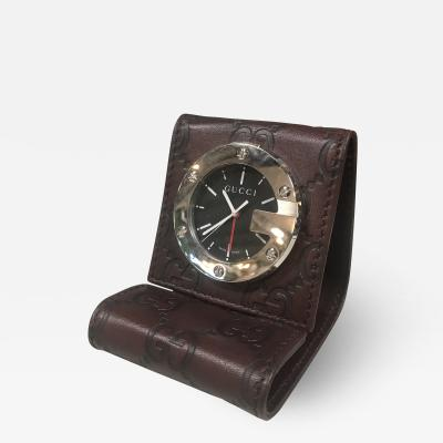 Gucci GUCCI LIMITED EDITION BROWN TRAVEL DESK ALARM CLOCK WATCH Italy 1980s