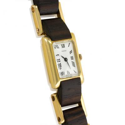 Gucci Gucci 1970s Gold and Wood Tank Wrist Watch