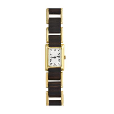 Gucci Gucci 1970s Gold and Wood Tank Wrist Watch