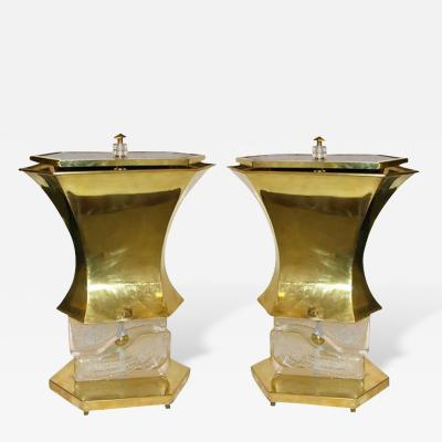 Gucci Gucci 1980s Italian Pair of Modern Gold Brass and Glass Lamps
