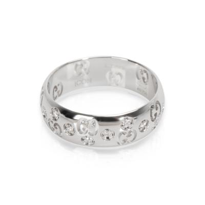 Gucci Gucci Double G Diamond Ring in 18K White Gold 0 10 CTW