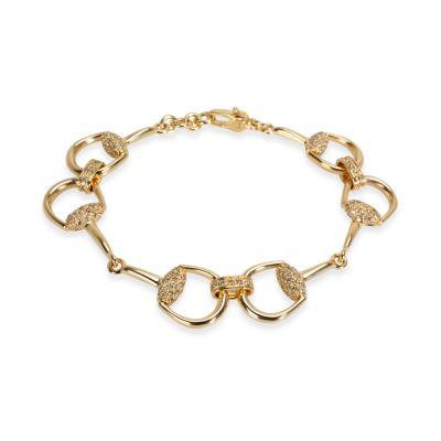 Gucci Gucci Horsebit Diamond Bracelet in 18K Yellow Gold 1 04 CTW
