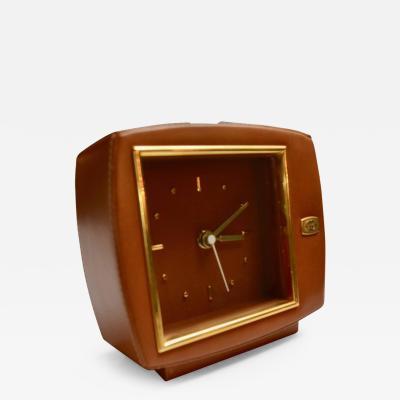 Gucci Gucci Leather and Brass Desk Clock