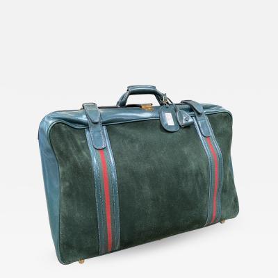 Gucci Gucci Vintage Blue Suede Medium Suitcase Travel Bag