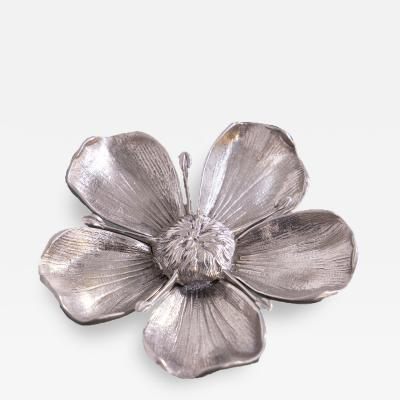 Gucci Gucci Vintage Flower Ashtray in Silver Metal Signed