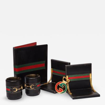 Gucci Rare Vintage Gucci 8 Piece Executive Italian Leather Desk Set Accessories 1979