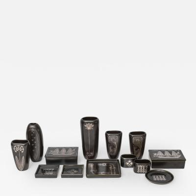 Gustavsberg Collection of Gustavsberg Argenta Ceramics in Black Glaze with Silver Inlay