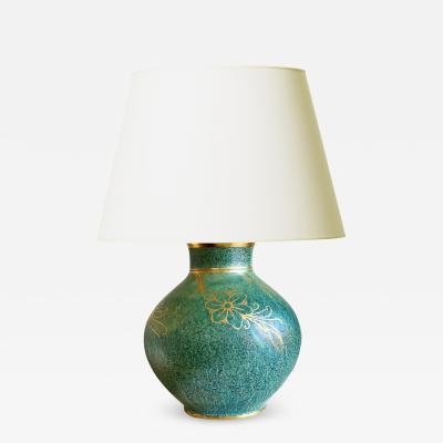 Gustavsberg Exceptional Table Lamp in Teal Luster Glaze by Josef Ekberg