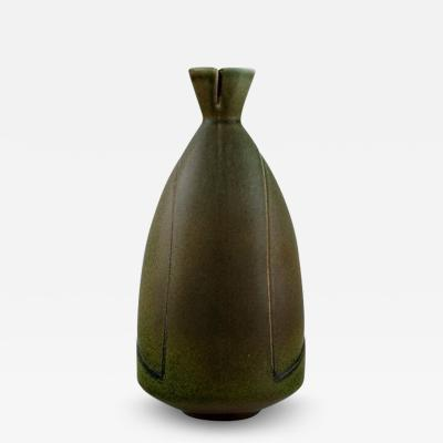 Gustavsberg Vase in glazed ceramic with open mouth Beautiful solfatara glaze