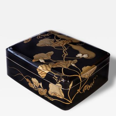 Gyokuho A Large Japanese Black and Gilt Lacquer Document Box Bunko