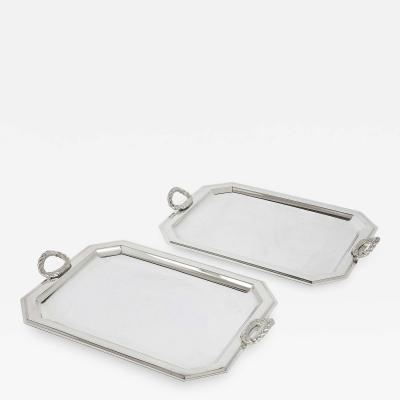 Habis Pair of Fine Silver Plate Trays by Lebanese Firm Habis