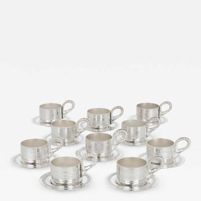 Habis Set of Ten Lebanese Silver Plate Cups and Saucers by Habis