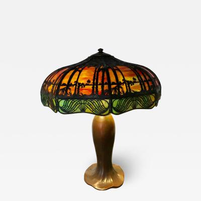 Handel Co Arts Crafts Handel Palm Tree Table Lamp Signed on Base and Shade
