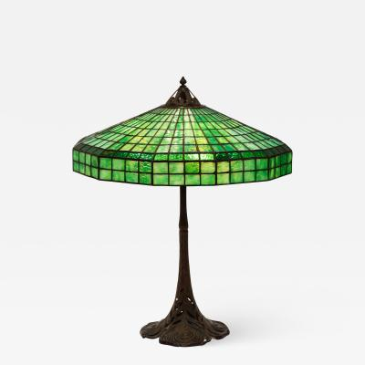 Handel Co Fine Handel Peacock Feather Lamp with a Geometric Shape
