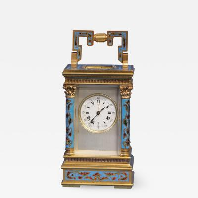 Hang Dah Le Shanghai c 1900 Rare French Miniature Champlevee Carriage Clock