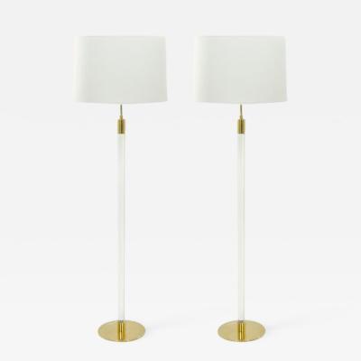 Hansen Lighting Co Pair of Glass Rod Floor Lamps by Hansen Lighting Co New York 1970s