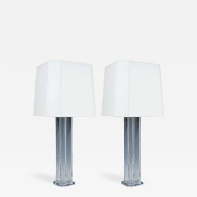 Hansen Lighting Spectacular Pair of Paul Hansen Lucite and Chromed Bronze Lamps