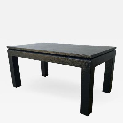 Harrison Van Horn Mid Century Modern Black Lacquered in Black Grasscloth Coffee Cocktail Table