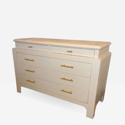 Harrison Van Horn Mid Century Modern Lacquered Grasscloth Dresser with Brass Bamboo Style Pulls