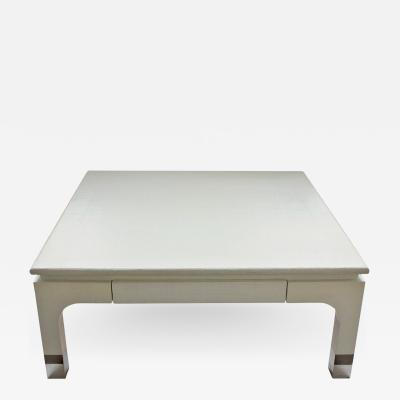 Harrison Van Horn Modern Lacquered Raffia Coffee Table by Harrison Van Horn