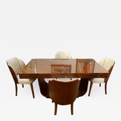 Harry Lou Epstein Furniture Co Epstein English Art Deco Dining Table with 6 Cloud Dining Chairs