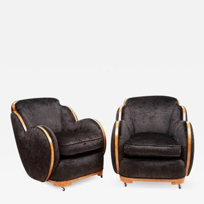 Harry Lou Epstein Furniture Co Pair of Art Deco Cloud back Armchairs by Harry Lou Epstein