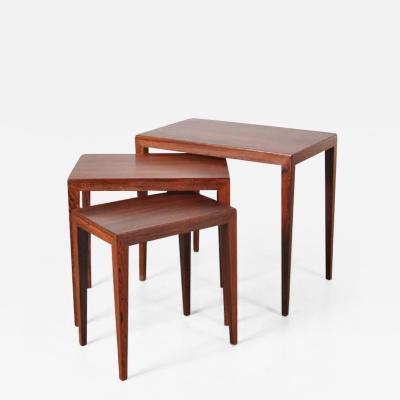 Haslev M belsnedkeri 1960s Nesting Tables by Severin Hansen for Haslev Mobelsnedkeri Denmark