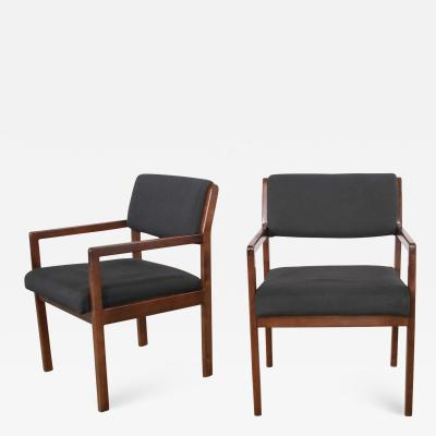 Haworth Modern pair black walnut tone wood accent or dining armchairs by haworth