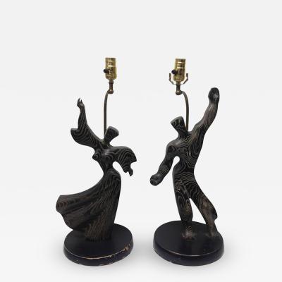 Heifetz Heifetz Cerused Oak Figural Lamps